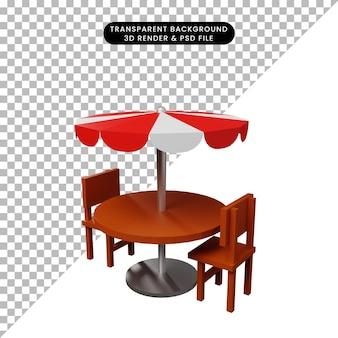 Illustrazione 3d di una sedia per cibo da ristorante semplice oggetto con ombrellone da tavolo
