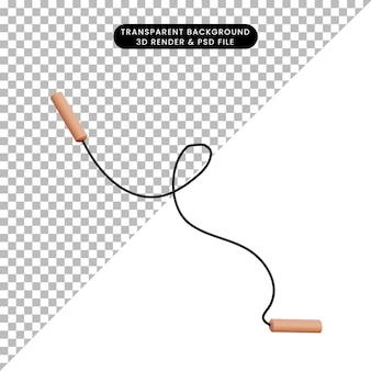 Illustrazione 3d semplice oggetto per saltare la corda