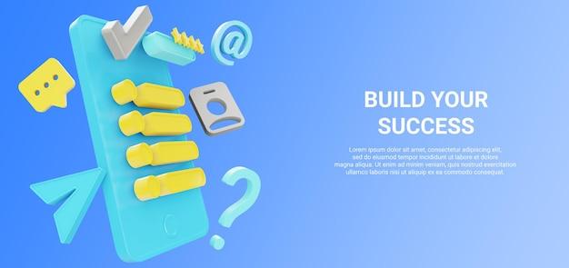 Illustrazione 3d di smartphone con profilo dati, valutazione e revisione per banner di annunci di lavoro