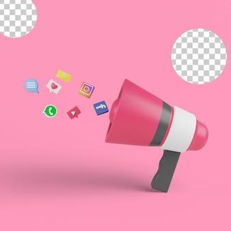 Illustrazione 3d. concetto di social media marketing