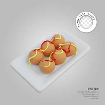Illustrazione 3d takoyaki