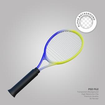 Illustrazione 3d della racchetta da tennis