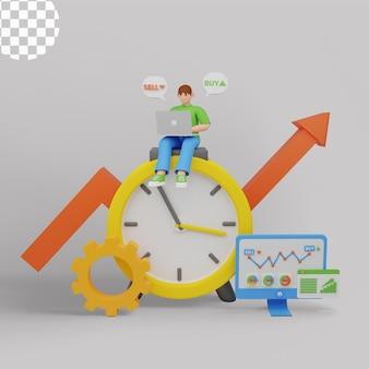 Illustrazione 3d. piccoli commercianti di azioni al computer portatile con grafico grafico comprano e vendono azioni