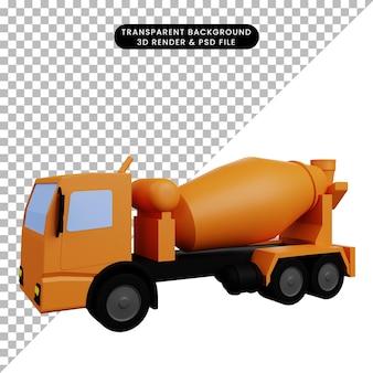 Illustrazione 3d del camion mix di trasporto