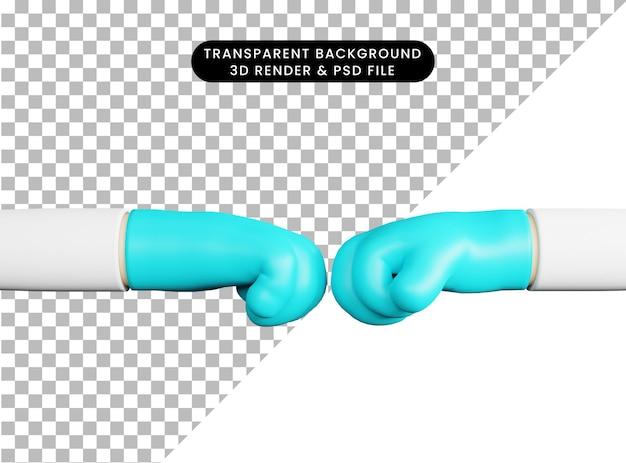 3d illustrazione due mani medico pugno