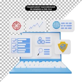 Illustrazione 3d dell'interfaccia utente sul laptop