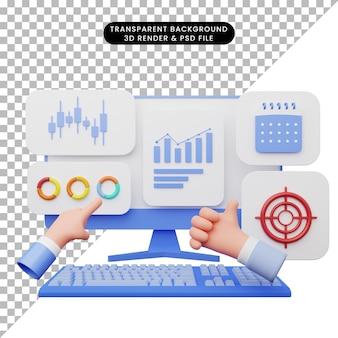 Illustrazione 3d dell'interfaccia utente con monitor e tastiera