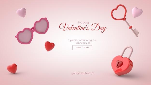 Illustrazione 3d del mockup della cartolina d'auguri di san valentino