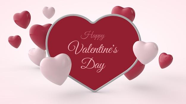 Illustrazione 3d del mockup della cartolina di san valentino