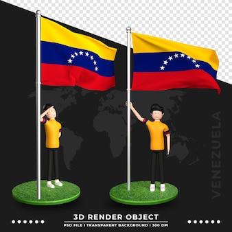 Illustrazione 3d della bandiera del venezuela con il personaggio dei cartoni animati della gente sveglia. rendering 3d.