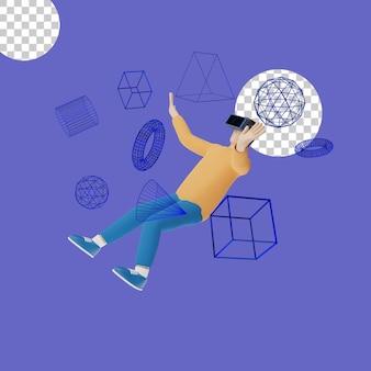 Illustrazione 3d del concetto di auricolare per realtà virtuale