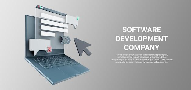 Illustrazione 3d di sviluppo web con oggetto portatile isolato