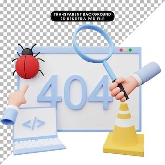 Illustrazione 3d dell'errore di illustrazione web 404