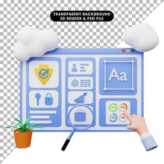 Illustrazione 3d dell'illustrazione web con stile 3d