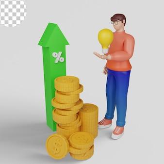 Illustrazioni 3d. concetti di analisi degli investimenti, ritorno dell'investimento, crescita degli investimenti. psd premium