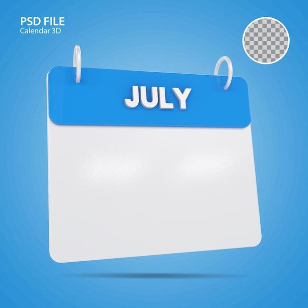 Illustrazioni 3d calendario di luglio blu