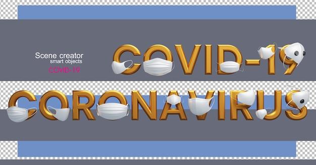 Illustrazioni 3d di vari numeri e lettere con covid-19