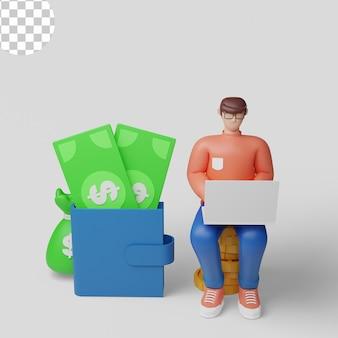 Illustrazioni 3dinvestitore con laptop che monitora la crescita dei dividendi