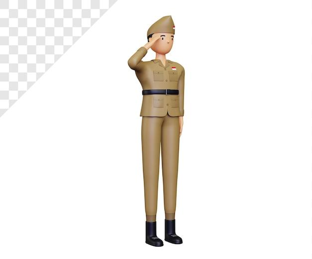 3d giorno dell'indipendenza dell'indonesia con personaggi dell'esercito in posa rispetto