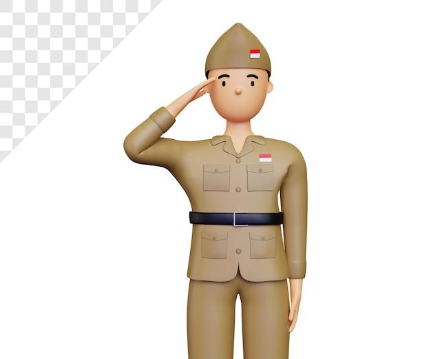 3d giorno dell'indipendenza indonesiana con il rispetto della posa dell'esercito
