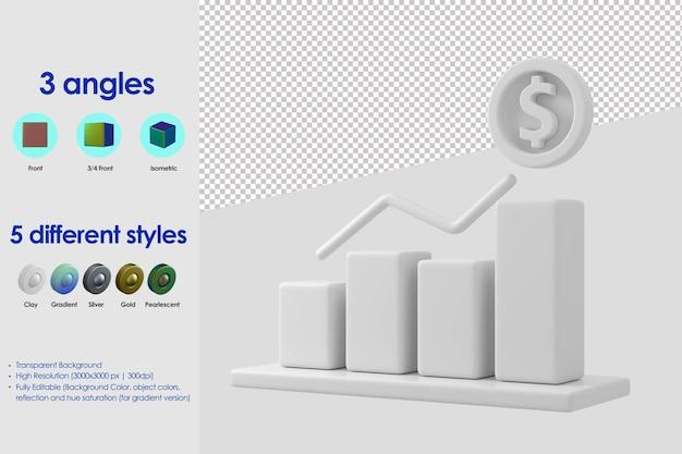 Icona della barra infografica 3d