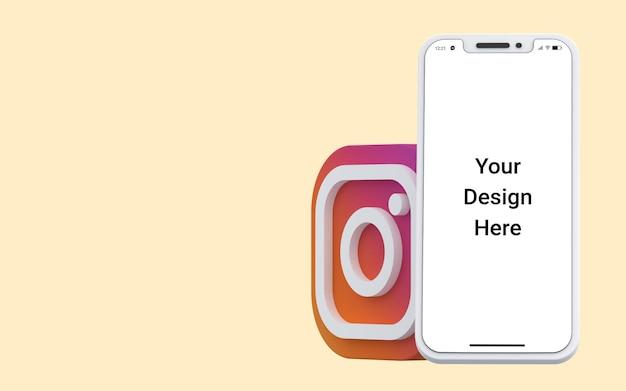 Social media di icone 3d di instagram con mockup di telefono cellulare