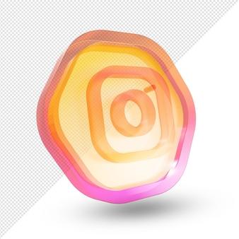 3d instagram logo vetro acrilico isolato