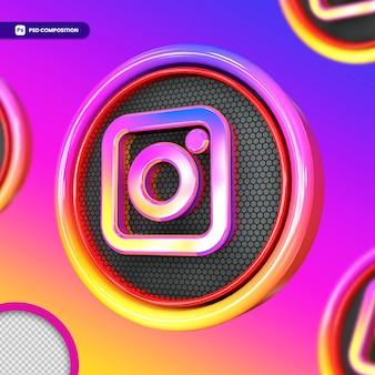 Logo di instagram 3d per i social media