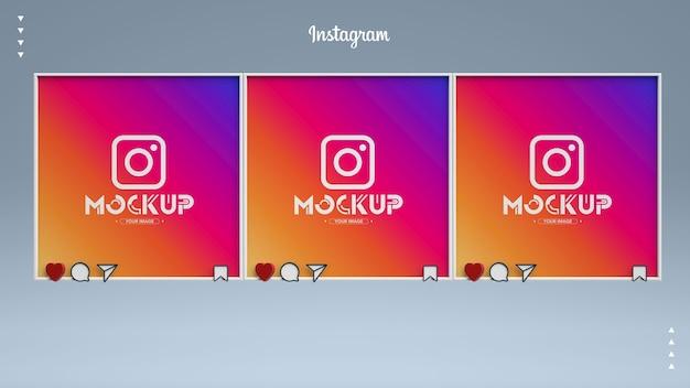 Feed di post mockup di instagram 3d