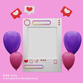 Asset del modello di mockup di instagram 3d con l'illustrazione dell'icona di palloncini di alta qualità