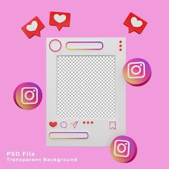 Asset del modello di mockup di instagram 3d con l'illustrazione dell'icona del logo di alta qualità
