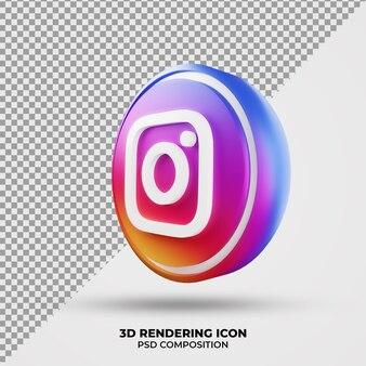 Icona di rendering 3d di instagram