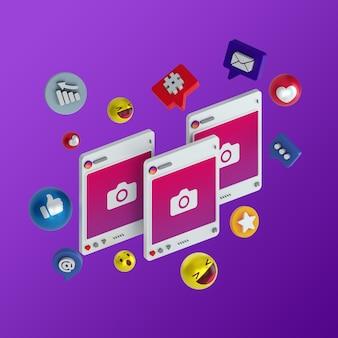 3d instagram social media illustrazione