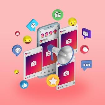 3d instagram social media post illustrazione