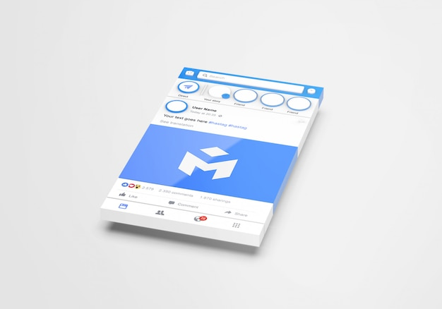 3d interfaccia social media facebook mockup
