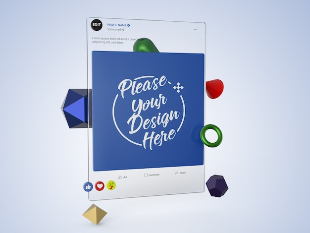 Interfaccia 3d social media facebook mockup