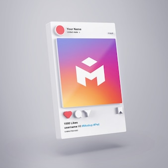 Interfaccia 3d social media mockup di instagram