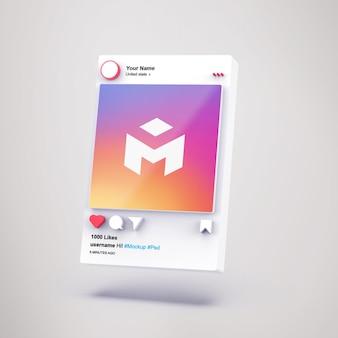 Interfaccia 3d social media mockup di instagram