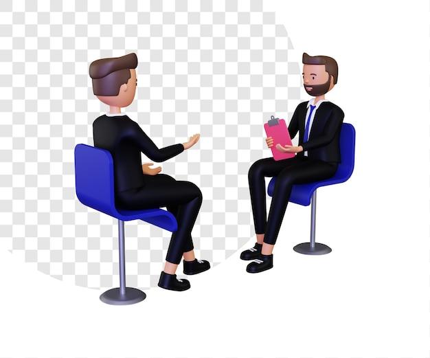 Illustrazione del concetto di intervista 3d