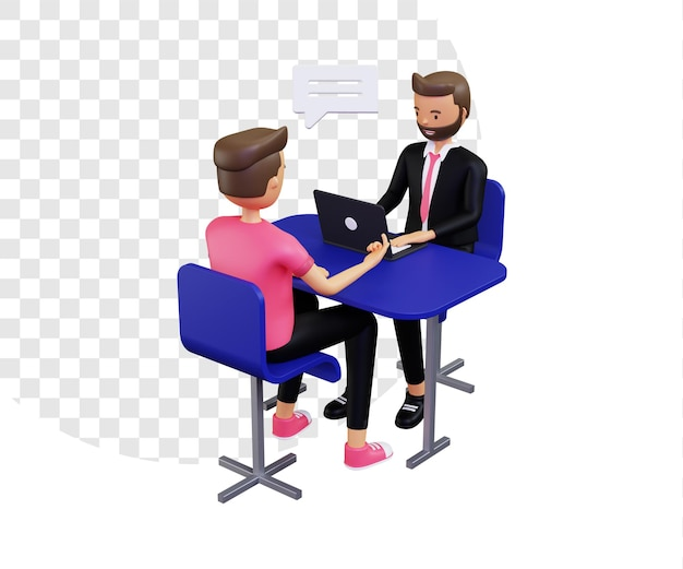 3d intervista due personaggi maschili