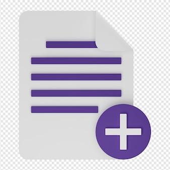 Rendering 3d isolato dell'icona aggiungi documento psd