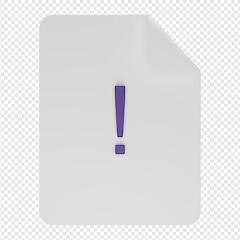 Rendering 3d isolato dell'icona del documento di avviso psd