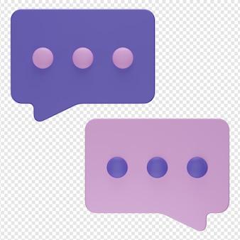 Rendering 3d isolato dell'icona della chat a bolle psd