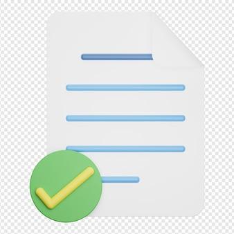 Rendering 3d isolato dell'icona del documento della lista di controllo