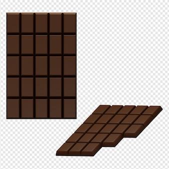 Rendering 3d isolato dell'icona di cioccolato psd