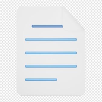 Rendering 3d isolato dell'icona del documento