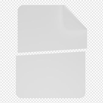 Rendering 3d isolato dell'icona del documento di errore psd