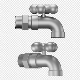 Rendering 3d isolato dell'icona del rubinetto