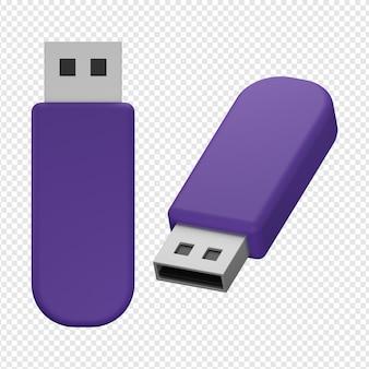 Rendering 3d isolato dell'icona dell'unità flash psd