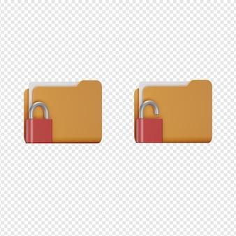 Rendering 3d isolato dell'icona di sicurezza della cartella psd